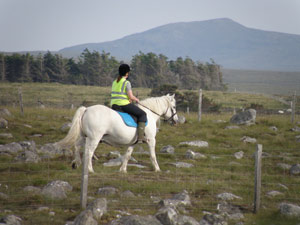 Lara MacLeod with one of her horses which she keeps on Croft 24 Brue.JPG