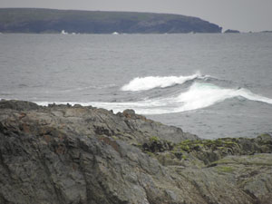 The waves roll in at Rubha Bhìogair, Upper Barvas - with Molerap and Brue cliffs in the background