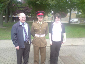 Mark Cockburn of Philomena, Upper Barvas, finished his first phase of Army training on the 20th August, and he's been accepted into the Corps of Royal Electrical and Mechanical Engineers as an armourer. He is pictured here with his father Iain, and his younger sister Kathleen.