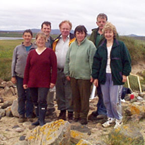 Group of professional archaeologists assisted by local Comann Eachdraidh members during an exploratory dig on Barvas machair in August 2000