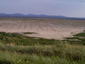 Wind and weather erosion on Barvas machair clearly reveals buried evidence of the area's historical past